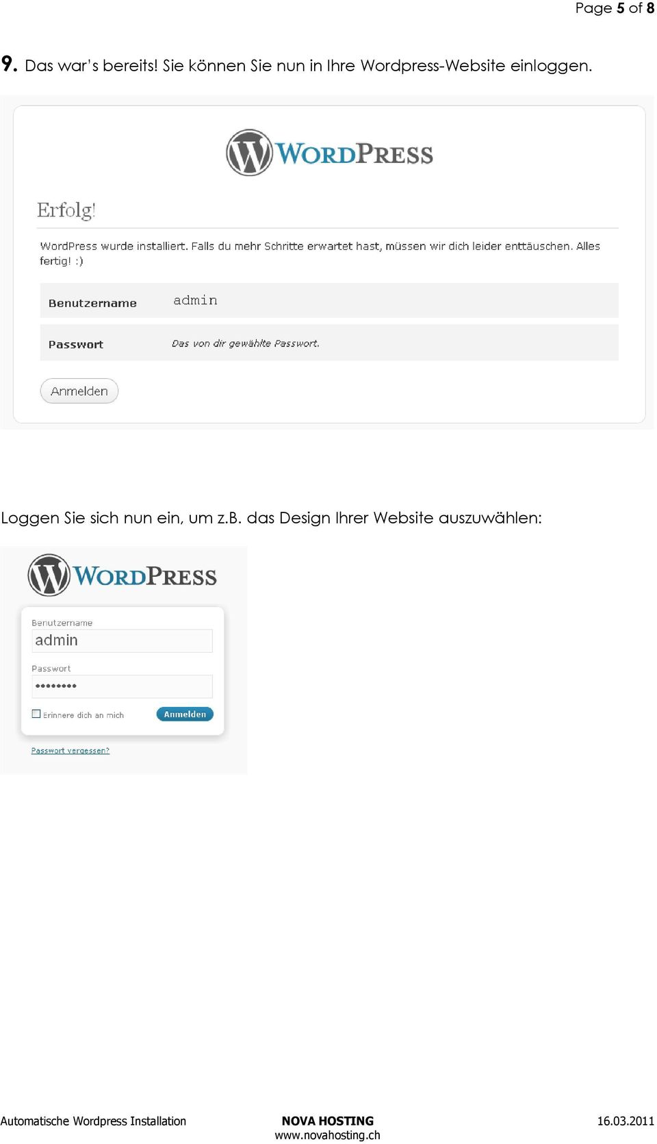 Wordpress-Website einloggen.