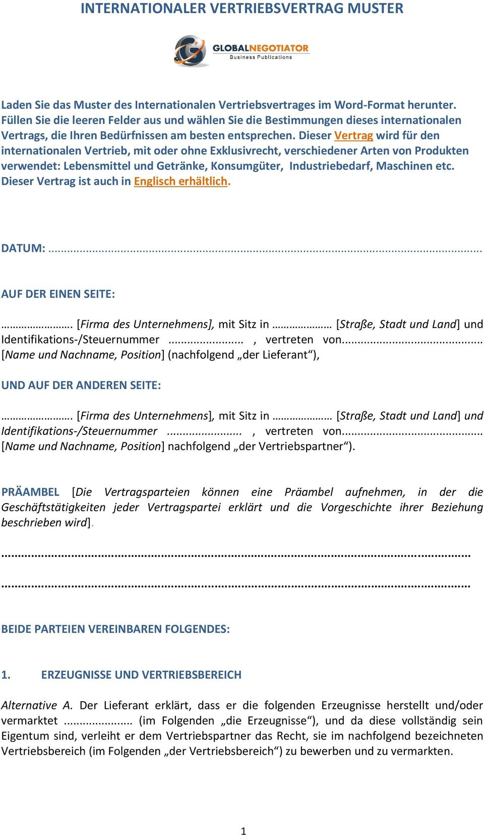 Internationaler Vertriebsvertrag Muster Pdf