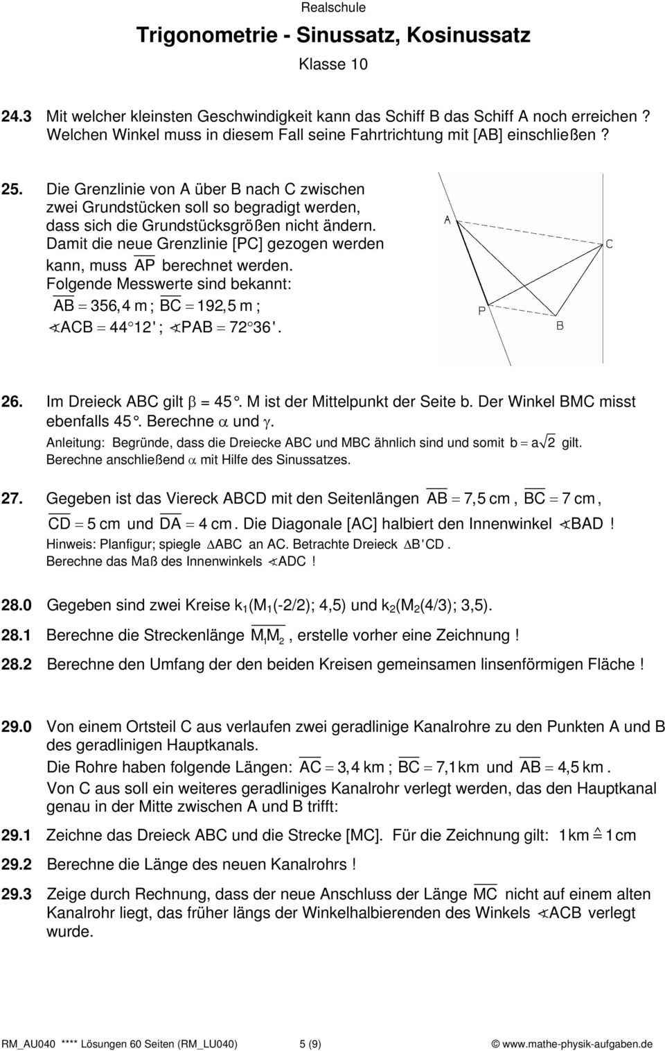 Colorful Trigonometrie Bewertung Arbeitsblatt Composition - Mathe ...