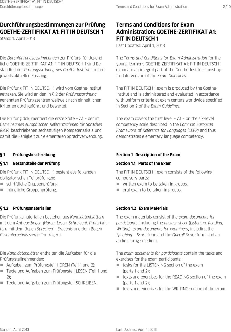 Institut a1 test goethe Placement test