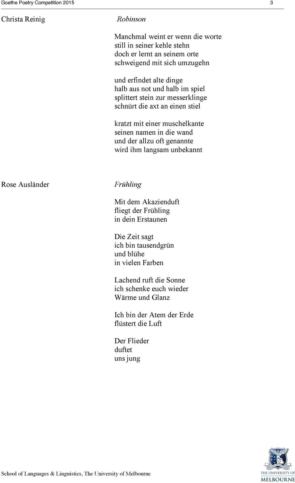 Goethe Poetry Competition Poems For Recitation Year 10