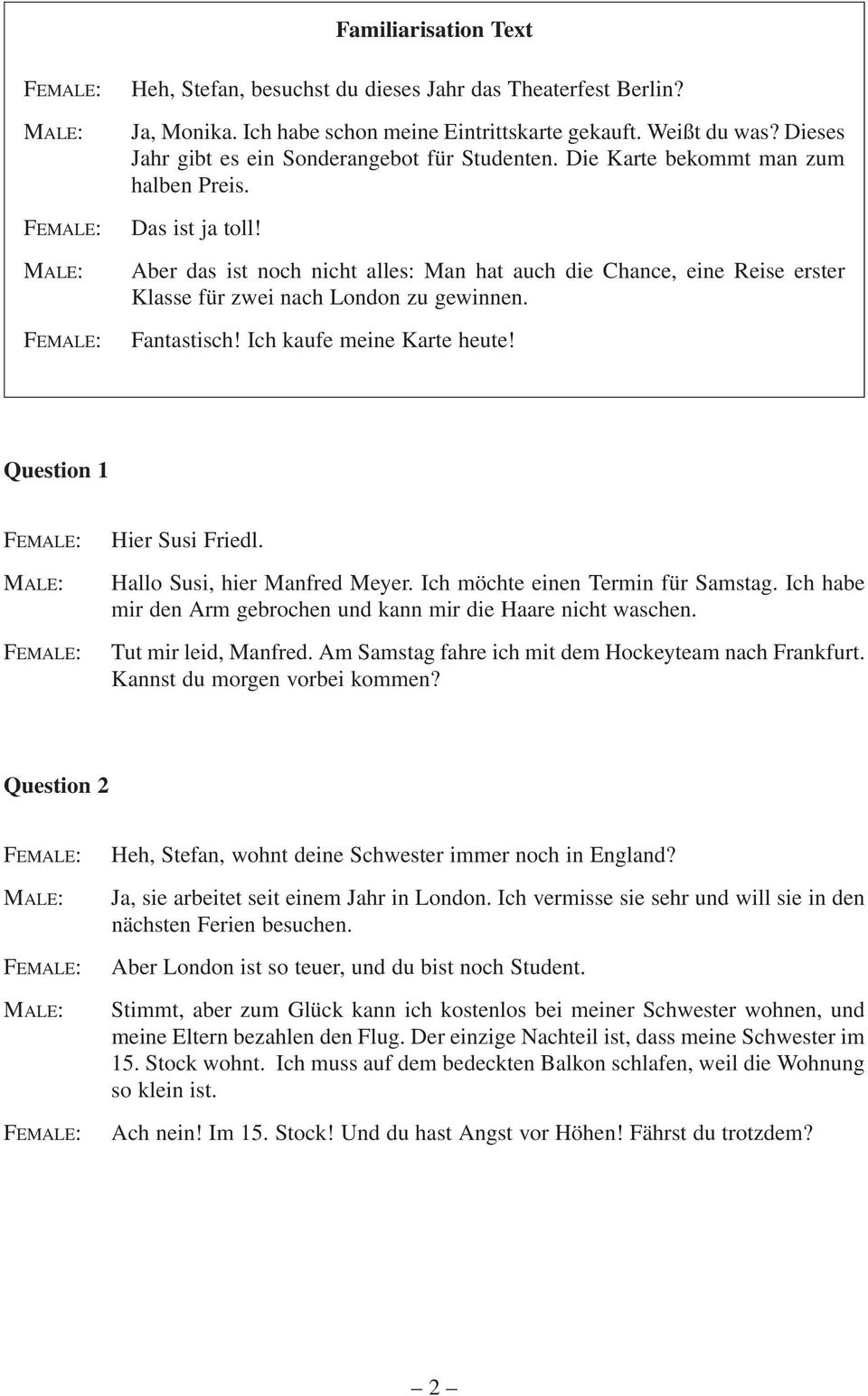German Continuers Section I Listening And Responding
