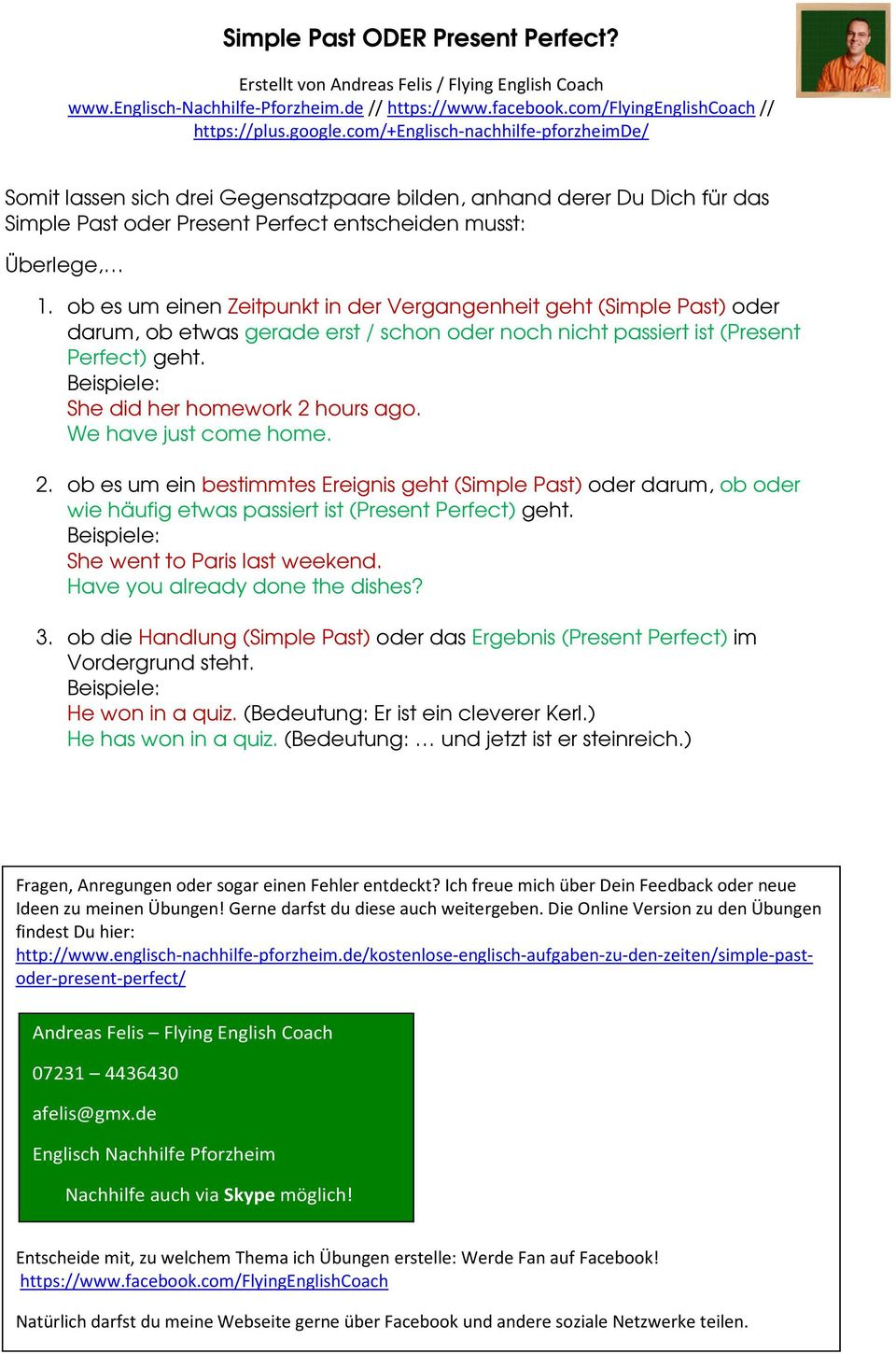 Simple Past oder Present Perfect? - PDF