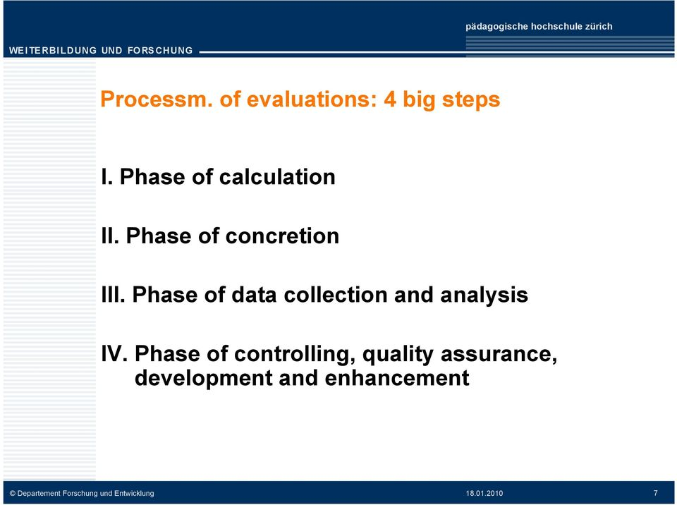 Phase of data collection and analysis IV.