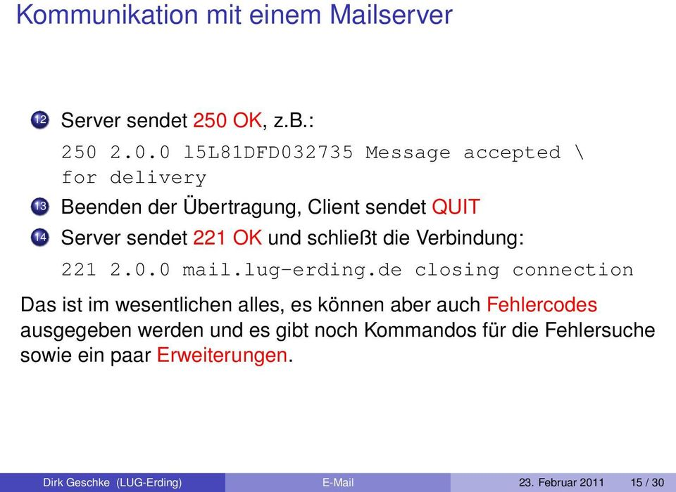 2.0.0 l5l81dfd032735 Message accepted \ for delivery 13 Beenden der Übertragung, Client sendet QUIT 14 Server sendet 221